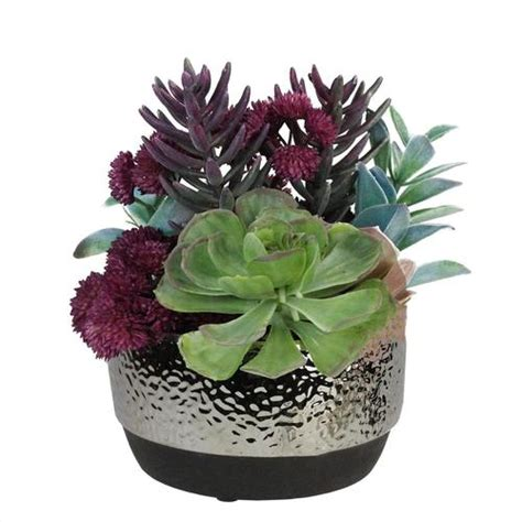 Decorative Succulent Arrangements by 8 Artificial Succulent Arrangement In Decorative Silver Ceramic Pot Christmascentral