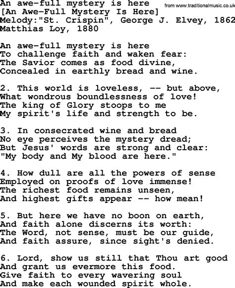 mystery lyrics american song lyrics for an awe mystery is