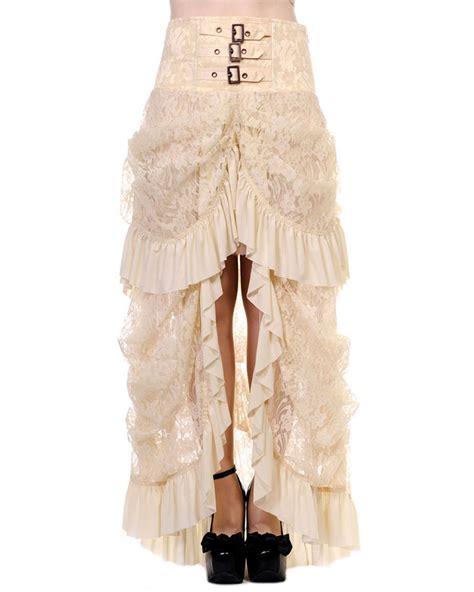 Lace Ivory Victorian Bustle Skirt | banned long gothic steunk skirt vintage victorian ivory