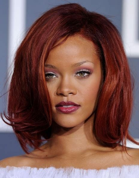 rihanna red bob hairstyle afro and mixed race hair styles rihanna medium red bob hairstyles with volumes