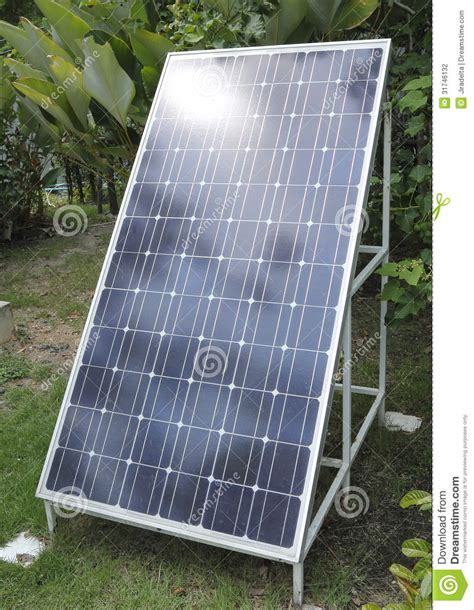 backyard solar panels solar power panel in garden stock photography image