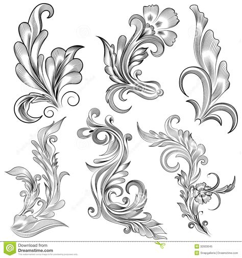 floral calligraphic design stock vector illustration of