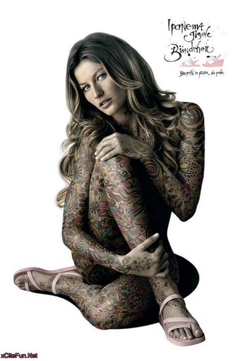 tattoo in full body gisele bundchen s full body tattoo perfect advertisement