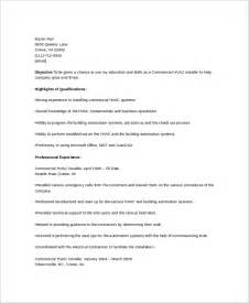 Commercial Hvac Installer Sle Resume by Sle Hvac Resume Template 6 Free Documents In Word Pdf