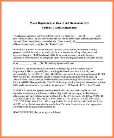 business associate agreement hipaa template hipaa business associate agreement template gallery