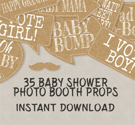 35 rustic baby shower printable props speech bubbles