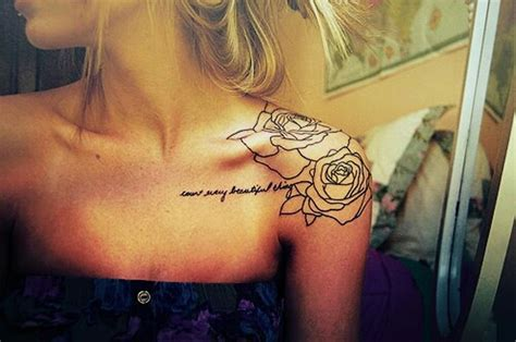 rose tattoo with quote 57 awesome quotes shoulder tattoos