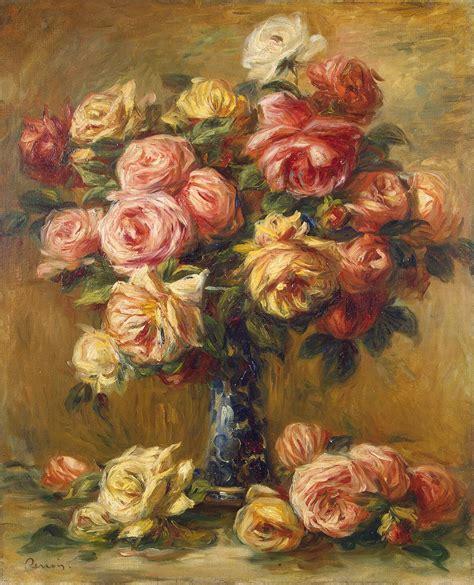 Arranging Roses In A Vase Pierre Auguste Renoir Oil Paintings Reproductions On