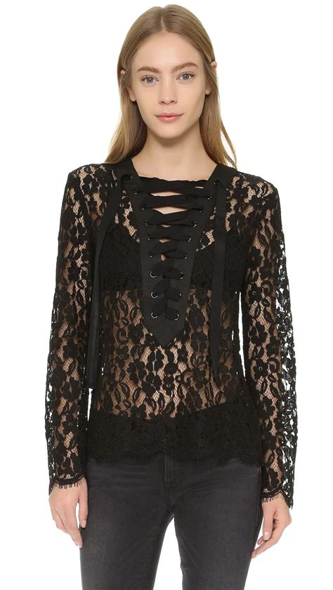 And Black Lace Blouse by Lyst Endless Lace Up Blouse In Black