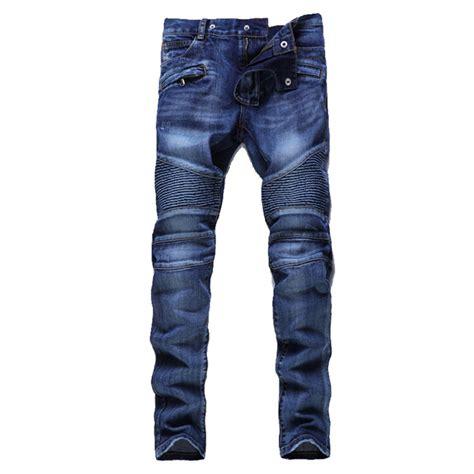 biker moto jeans men hip hop mens motorcycle jeans blue slim fit biker jeans