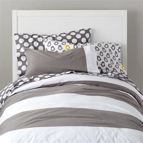 gray and white striped comforter new school sheet set grey w white dot the land of nod