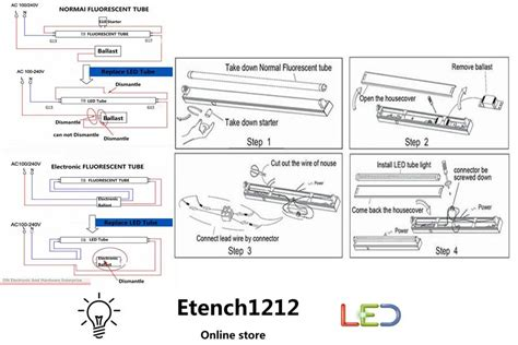 diagram led t8 fluorescent 4ft 18w etench wiring