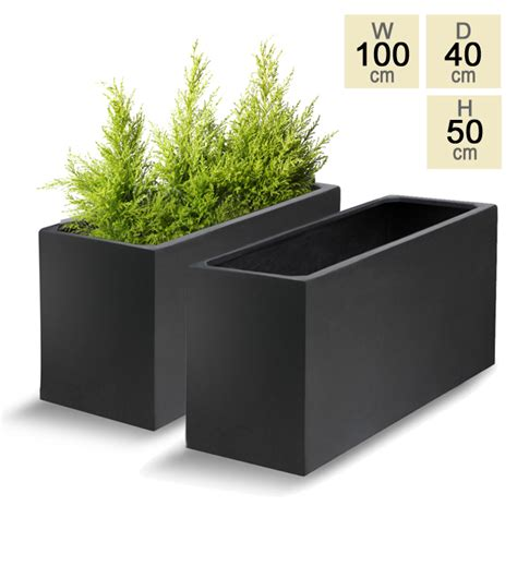 Polystone Planters by Black Polystone Trough Planter Set Of 2 H50cm X L100cm