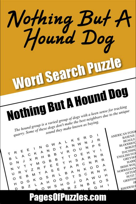 printable word search dog breeds nothing but a hound dog word search pages of puzzles