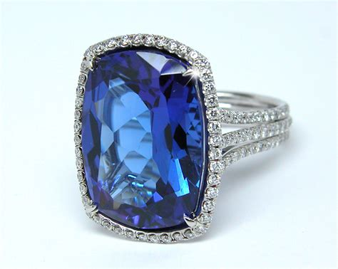 cushion 17 50 cts tanzanite ring exclusive jewelry designs