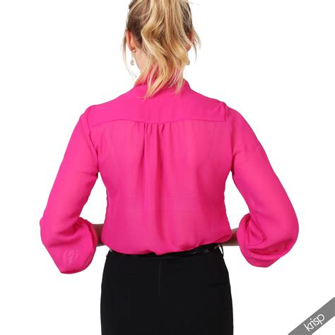 womens see through chiffon blouse bow tie top sleeve