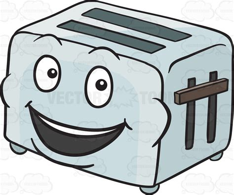 Side Toaster Pop Up Toaster Smiling In Delight Emoji Cartoon Clipart