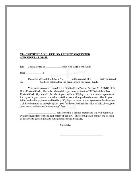 Letter Check best photos of nsf check letter template nsf check
