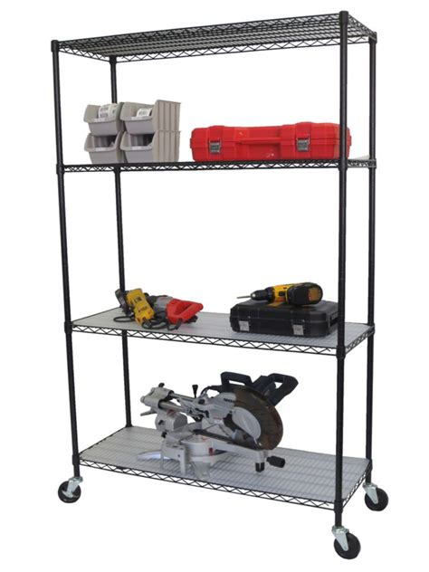Shelving Rack With Wheels by 4 Tier Nsf 48x18x72 Wire Shelving Rack With Wheels And Liners Black The Home