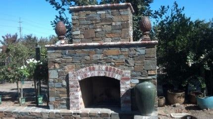 Outdoor Stacked Fireplace Built In Green Egg Outdoor Stacked Stone Fireplace Picture Built In Green