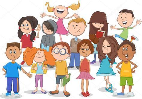 imagenes de niños y adolescentes dibujos de grupo de ni 241 os o adolescentes vector de stock