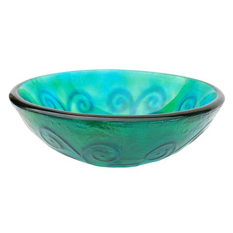 glass vessel sinks bathroom shop eden bath green glass vessel round bathroom sink at