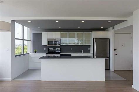 kitchen island wall modern kitchen with one wall high ceiling in miami fl