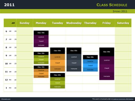 Class Schedule Free Charts For Powerpoint And Impress Schedule Template Powerpoint