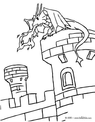 coloring pages castle tower dragon on a castle tower coloring pages hellokids com