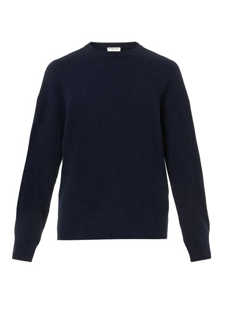 Sweater Marsmellow Navy Blue balenciaga oversized navy wool blend sweater in black for lyst
