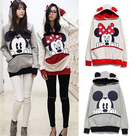 Mickey Sweater Hoodi womens mickey minnie mouse ear sweatshirt jumper casual