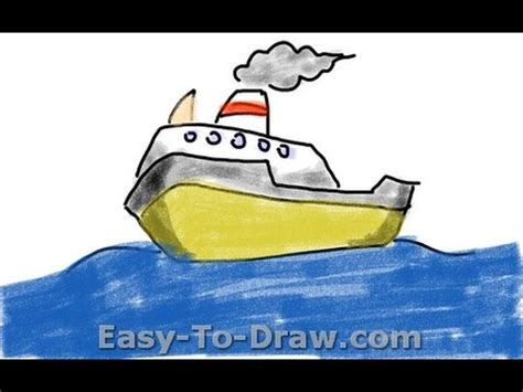 cartoon boat youtube how to draw a cartoon boat on the sea free easy