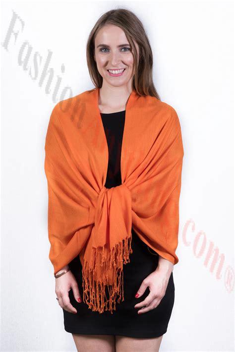 Silky Pashmina 1 silky soft solid pashmina scarf orange