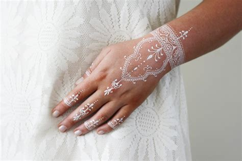 fake tattoos henna white henna temporary bohemian temporary