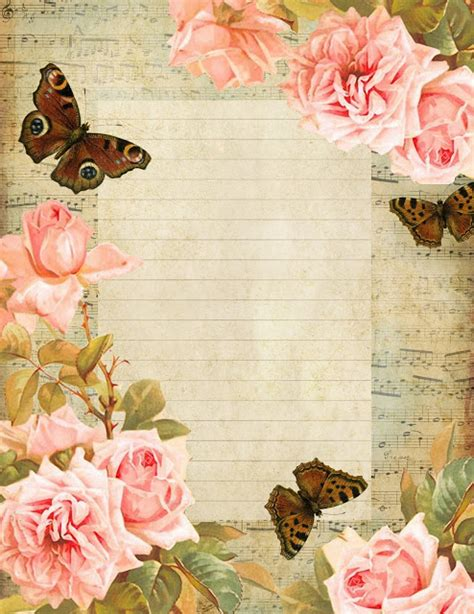 free printable stationary with roses lilac lavender happiness is a butterfly