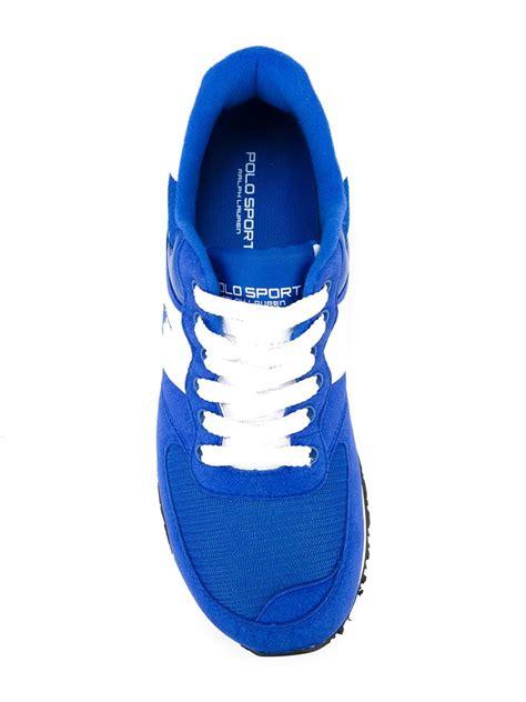 ralph running shoes lyst polo ralph logo running sneakers in blue for
