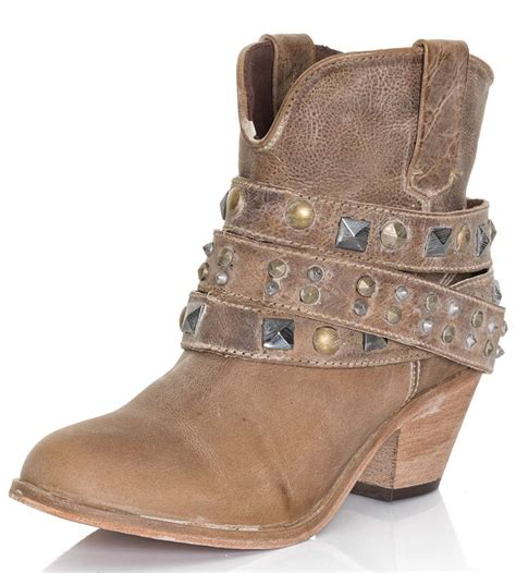 cowboy ankle boots for corral womens studded ankle cowboy boots taupe