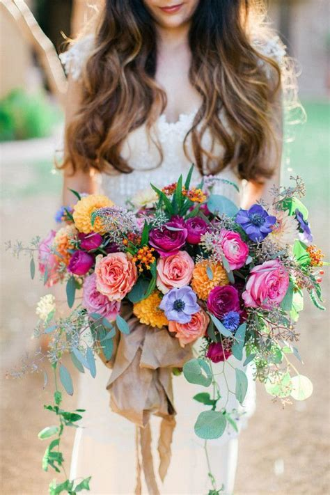 colorful wedding colorful bridal bouquet boho wedding bouquet
