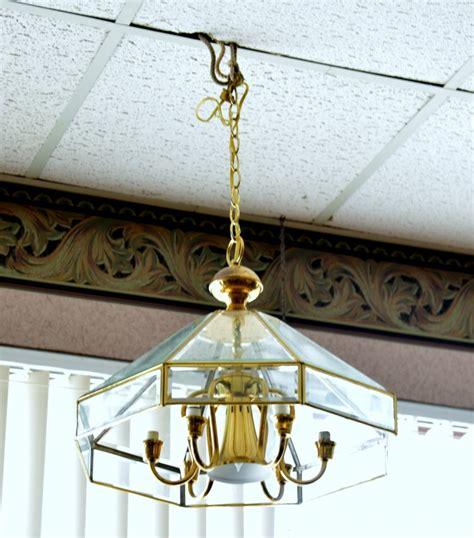 Beveled Glass Chandelier Vintage Brass Beveled Glass Chandelier