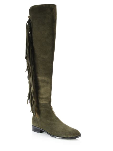 stuart weitzman mane fringed suede the knee boots in