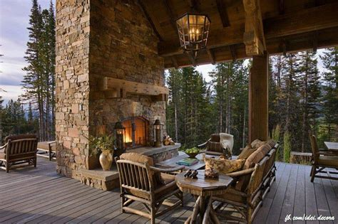 outdoor fireplace on deck log home