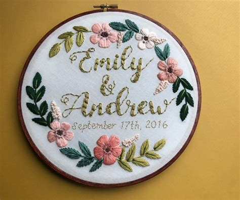 embroidery wedding custom personalized embroidery hoop wedding