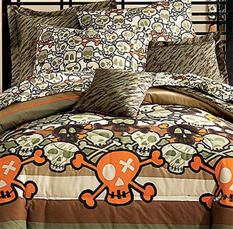 skull crossbones comforter set 5pc skulls bedding full