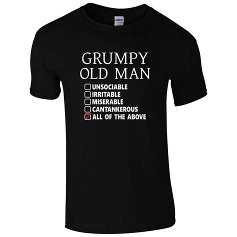 christmas present for grumpy old man grumpy checklist t shirt grandad fathers day joke gift top fashion and