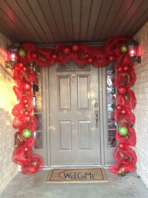 christmas door mesh swag christmas pinterest