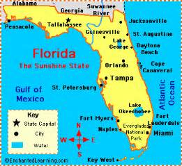 Florida facts map and state symbols enchantedlearning com