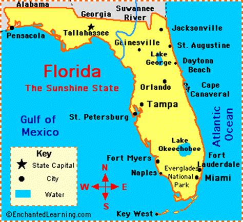 major cities in florida map florida facts map and state symbols enchantedlearning