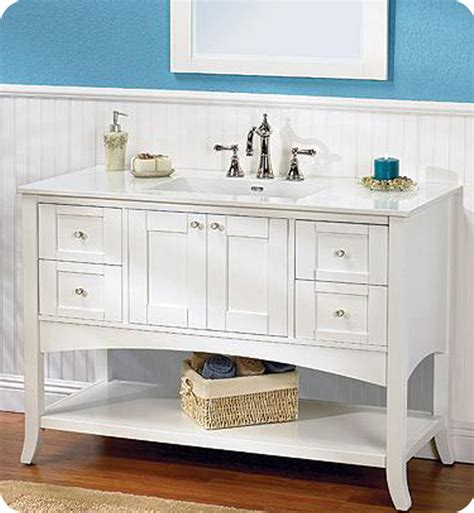 Bathroom Vanity Open Shelf Fairmont Designs 185 Vh48 Shaker 49 Quot Open Shelf Modern Bathroom Vanity In Polar White