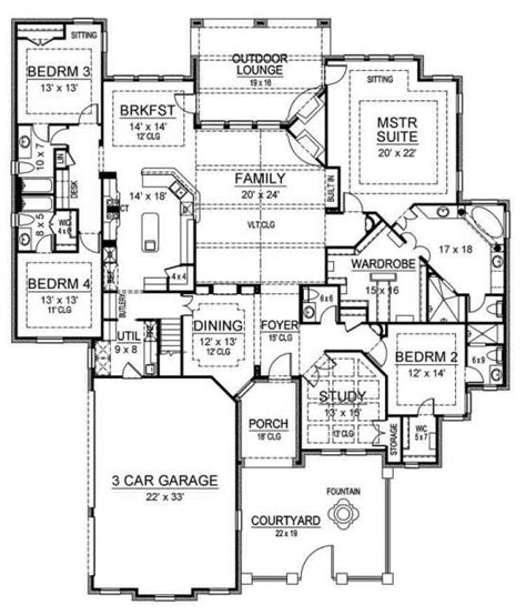 3 bedroom hall kitchen house plans love the kitchen adn master suite also the desk in the