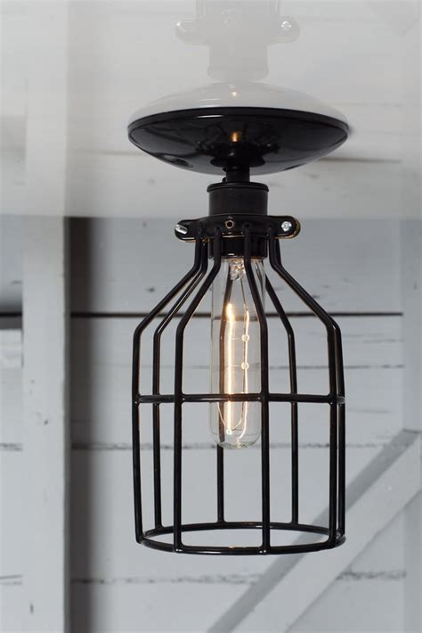 industrial filament bulb ceiling mount light fixture modern farmhouse style jefferson 6in industrial lighting black cage light ceiling mount industrial light electric